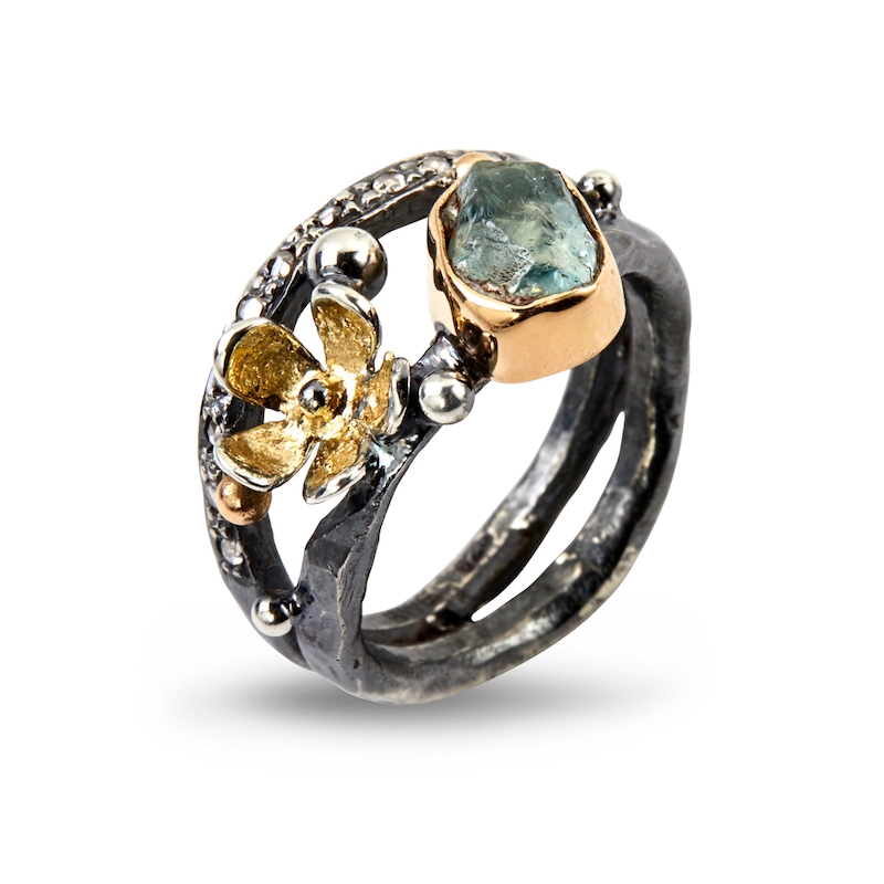 Dubeca Aqua Flower ring By Birdie